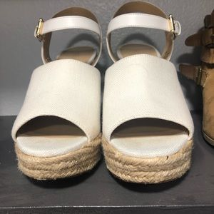 Michael Kors White and woven wedges